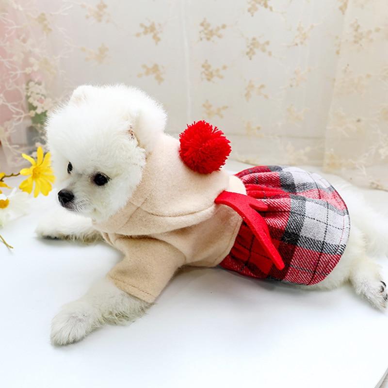 红格娃娃领呢子裙_8042