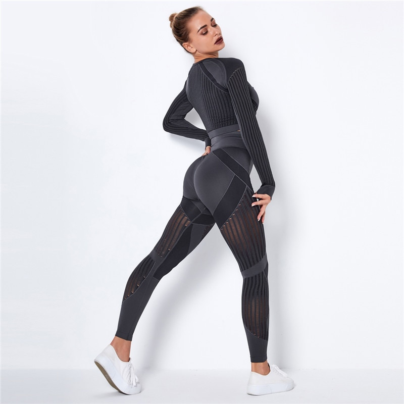 JOMOBabe Women's Active Hollow Out Seamless Yoga Set Sport Outfits Women Black Two 2 Piece Crop Top Bra Leggings Workout Gym suit Fitness Sport Sets JOMOBabe Online Store | Women Workout Clothes & Gym Gear | JOMOBabe