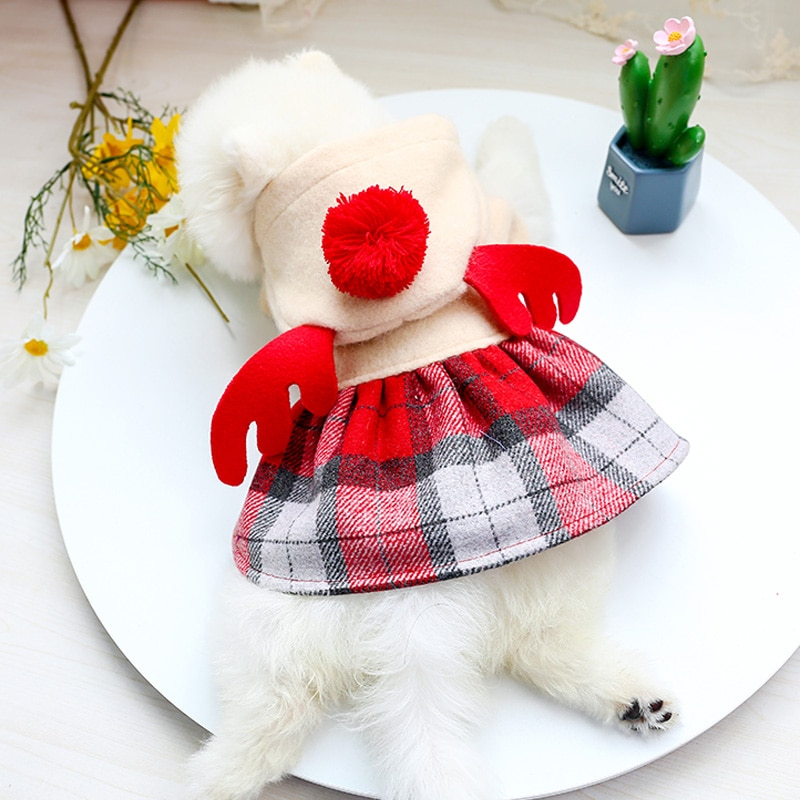 红格娃娃领呢子裙_8044