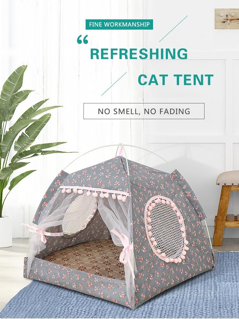 Sweet Princess Cat Tent House Pet Cat Bed Portable Foldable