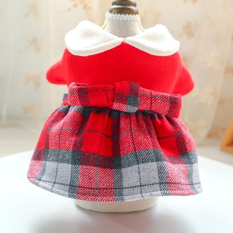 红格娃娃领呢子裙_5166