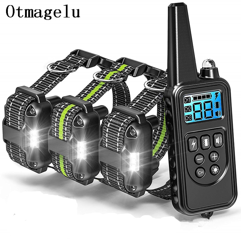800m Electric Dog Training Collar with LCD Display Pet Remote Control Waterproof Rechargeable Collars for Shock Vibration Sound4