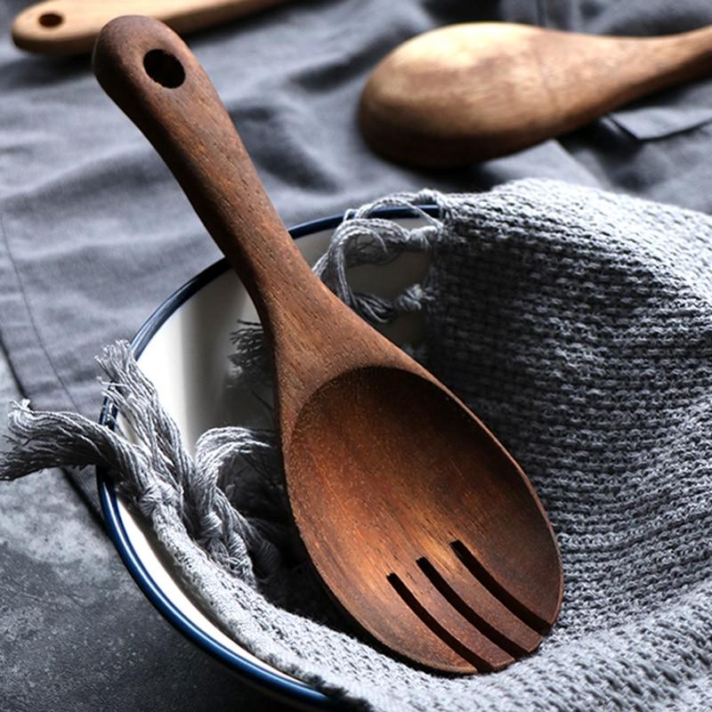 Wooden Serving Spoons Large Kitchen Wood Salad Mixing Spoon Fork Short Handled Scoop Cutlery Set Wooden Utensils Cooking Tools (5)